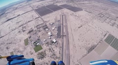 Professional skydiver fly on parachute above Arizona. Sunny day. Extreme sport Stock Footage