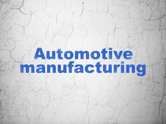 Manufacuring concept: Automotive Manufacturing on wall background - stock illustration