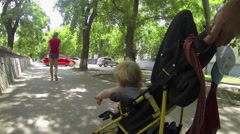 Baby in a stroller - stock footage