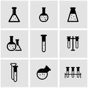 Vector black chemistry icon set Stock Illustration