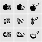 Vector black genetically modyfied food icon set - stock illustration