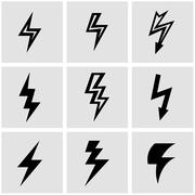 Vector black lightning icon set Stock Illustration