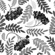 Rowan berry seamless texture. Autumn vector illustration Stock Illustration