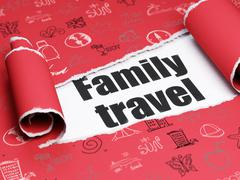Tourism concept: black text Family Travel under the piece of  torn paper - stock illustration