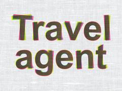 Tourism concept: Travel Agent on fabric texture background Stock Illustration
