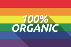 Vector long shadow Gay Pride flag with    the text 100% ORGANIC - stock illustration