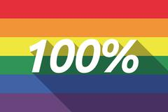 Vector long shadow Gay Pride flag with    the text 100% Stock Illustration