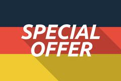 Vector long shadow Germany flag with    the text SPECIAL OFFER Stock Illustration