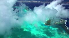 Aerial of the overwater bungalow resort on Bora Bora paradise Resort Island Stock Footage