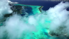 Aerial view of Mt Otemanu Bora Bora luxury Island South Pacific Stock Footage