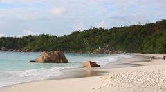 Tourists at the beach of Anse Lazio, Seychelles - stock footage