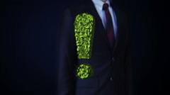 Businessman touching green exclamation mark made from leaves. leafs. Stock Footage