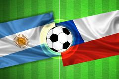 Argentina - Chile - Soccer field with ball - stock illustration