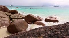 Rough waves at Anse Lazio, Praslin island, Seychelles - stock footage