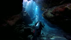 Exciting underwater diving in underwater caves of the reef Claudio. - stock footage