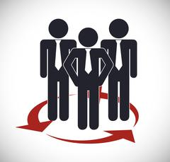 Businesspeople with arrow icon. Business design. Vector graphic - stock illustration