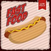Hot dog icon. Fast food design. Vector graphic - stock illustration