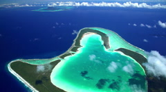 Aerial tropical view of Tupai Heart Island in the South Pacific Ocean Stock Footage