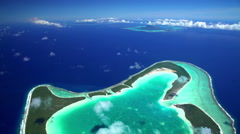 Aerial view of Tupai Heart Island French Polynesia South Pacific Ocean Stock Footage