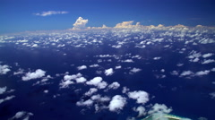 Aerial tropical view of Pacific Ocean Cloudscape in French Polynesia Stock Footage