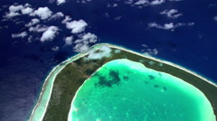 Aerial view of Coral Reef Tupai Heart Island French Polynesia Stock Footage