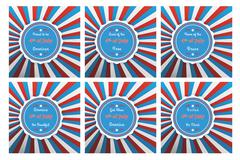 Set of six badges for Independence with different 4th of July slogans. Stock Illustration