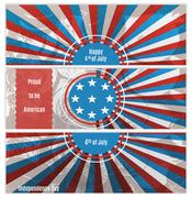 Set of three banners in the US national flag colors Stock Illustration