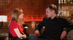 Couple Enjoying Drink In Bar Stock Footage