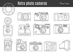 Old retro photo camera set Stock Illustration
