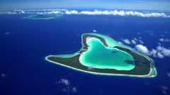 Aerial view of Tupai and Bora Bora Island in French Polynesia Stock Footage