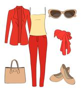Vector set of women clothes and accessories - stock illustration
