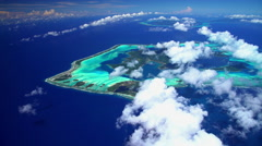 Aerial tropical view of Bora Bora Tupai and Tahaa Island South Pacific Stock Footage