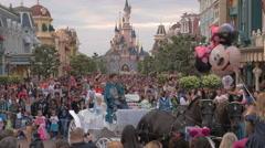 Crowd of visitors walking in Disneyland Paris Stock Footage