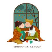 Young couple kissing Stock Illustration