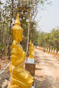 golden asian angel statue beside the walkway - stock photo