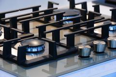 Brand new gas stove closeup Stock Photos