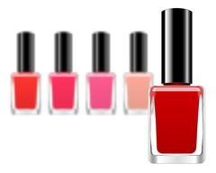 Vector background with red nail polish - stock illustration