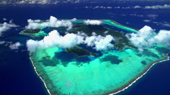 Aerial view of Bora Bora Island South Pacific Ocean Stock Footage