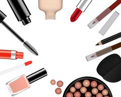 Vector set of female cosmetics - stock illustration