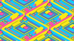 Isometric 3D Neon Elements Stock Footage