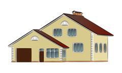 Vector two-storey private house - stock illustration