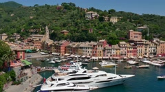 Portofino Italy Beautiful Sea Town Village On Italian Riviera Coast Stock Footage