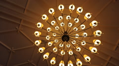 Dolly shot of a beautiful chandelier Stock Footage