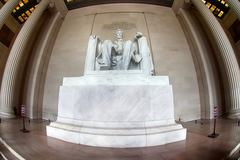 WASHINGTON, USA - JUNE 24 2016 - Lincoln statue detail at Memorial in Washing Stock Photos
