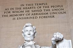 WASHINGTON, USA - JUNE 24 2016 - Lincoln statue detail at Memorial in Washing - stock photo