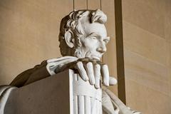 WASHINGTON, USA - JUNE 24 2016 - Lincoln statue detail at Memorial in Washing - stock photo