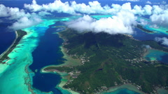 Aerial view of luxury vacation resorts Bora Bora Island South Pacific Ocean Stock Footage
