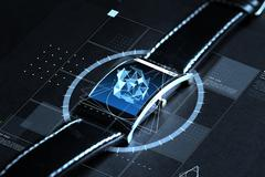 close up of smart watch with polygonal projection - stock photo