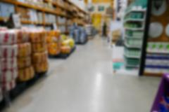 Blurry equipment selling in hardware store Stock Photos