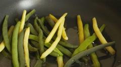 Fry asparagus beans. Stock Footage
